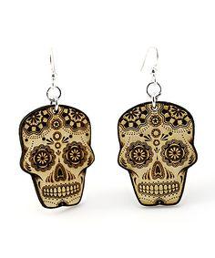 wooden sugar skull earrings
