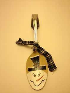 Primitive Snowman Hand Painted Spoon Ornament by PrimOuthouse, $5.00