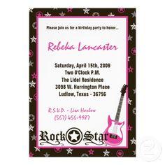 5x7 Invite - Girl Rock Star Birthday Invitation