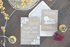 kraft paper wedding invitations, photo by Six Hearts Photography http://ruffledblog.com/fall-wedding-ideas-with-a-floral-and-wheat-bouquet #weddinginvitations #stationery