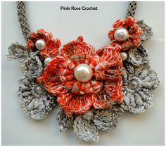 PINK ROSE CROCHET /: Colar com Flor e Folhas - Crochê