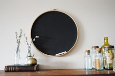 Turning an embroidery hoop into a chalkboard!