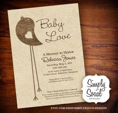 Burlap and Craft Paper Little Bird Baby Shower Invitation Rustic Chic Gender Neutral. $18.00, via Etsy.