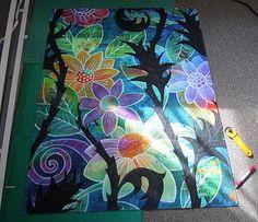 color techniqu, paint thread, paint techniqu, bloom, black, thread project