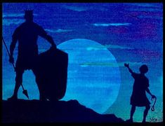 David and Goliath painting glow in the dark Bible story christian Art giant silhouette wall decor Jw Biblical art color changing decor