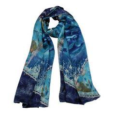 sea long, long blue, scarf shawl, charmeus silk, dahlia, silk scarves, blues, luxuri charmeus, blue scarf