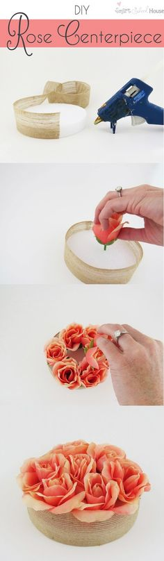 DIY Rose Centerpiece! Made of things you can find at the dollar store! Perfect for entertaining or weddings.. Must see tutorial!