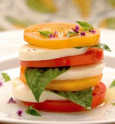basil food, summer foods, peach tomato and basil salad, basil tomato mozzarella, tomato basil mozzarella, best summer salads, healthy food recipes summer, best summer appetizer, tomato basil salad