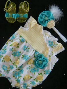 Lemon yellow and turquoise BABY girl outfit - soft flower accents, matching jelly shoes and headband - newborn outfit, baby girl take home. $27.00, via Etsy.