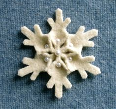 Snowflake Felt Pin Pearl Accents