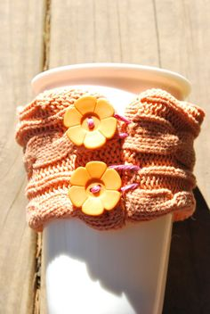 Orange Flower Button Mug Snuggle Cable knit by 90DegreeAngle, $7.50