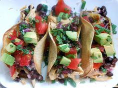 Roasted Cilantro Chicken Tacos with Black Bean Salad