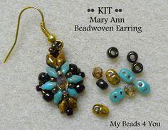 PDF Tutorial Beadwoven Earrings SuperDuo Earring by mybeads4you, $15.00