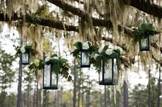 Hanging lanterns?!? Yes, please. Photography by brownephotography.com /  Floral and Event Design by The Season Flower Market