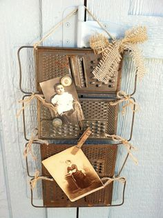 Repurposed Vintage Metal Graters Tied Together As a Place To Clip Pictures & Mementoes or Use Magnets To Hold in Place