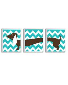 Chevron Nursery Girl Boy Art Dachshund Dog Kids Brown Turquoise Wall Decor Set of 3 each 8x10. $36.00, via Etsy.