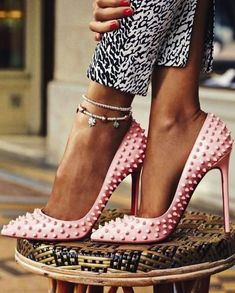 spike, fashion shoes, style, pale pink, stud, heels, pink shoes, christian louboutin, christianlouboutin