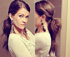 Don't have time to do your hair? This is a 5 min hair do!Put a little more sass to that pony!-Twist your hair away from your face and back as if you would put it into a pony right then. Pin it with a bobby pin.-Do it to the other side.-Pull your hair back in a messy pony. pull the…