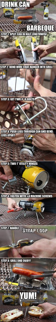 Make a mini BBQ from a drink can: http://bit.ly/MakeTheBittyQ    Got an itch to grill, but don't have a BBQ handy?  Here's an awesome little hack, to satisfy your meaty cravings one bratwurst at a time!   More videos at http://www.thekingofrandom.com