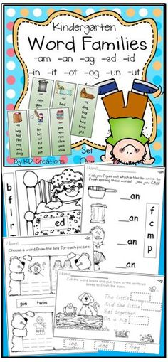 Kindergarten kids, come join our word families and have fun practicing this important early reading skill with these printables and activities.