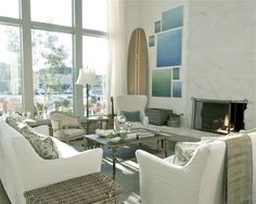Living room, Velvet and Linen.. white couches, light carpets and blue accents.. just a few of my favorite things.