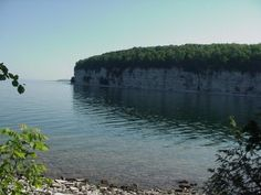 The limestone bluff along the harbor at Fayette Michigan state park