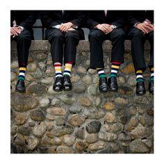 Groomsmen and their striped socks | #StripeSpotting