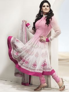 Ablicant Off White and Pink Net Anarkali Style Churidar Kameez With Dupatta