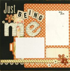 Premade Scrapbook Page 12 x 12 Double Page Layout - Just Being Me. $17.99, via Etsy.