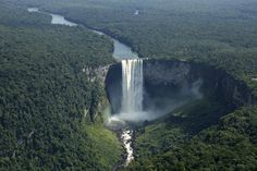 Kaieteur Falls in Southern Guyana. Five times higher than Niagara Falls and one of the most powerful waterfalls in the worl