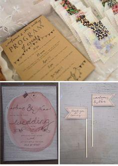Cute handmade wedding invitations.