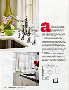 A Kitchen by Rebecca Reynolds #NewCanaanKitchens #Rohl Faucet in #Darien,CTKitchen featured on cover of #KitchenandBathIdeas Magazine row faucet, rohl faucet, magazin