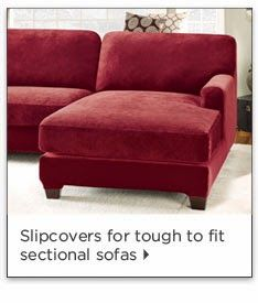 A 5 piece form fitted cover that is available for a Sectional Sofa with a right or left side chaise. #slipcover