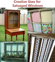 Creative uses for salvaged windows creativ, salvag window, craft, idea, old windows, door, upcycling, planter boxes, garden boxes