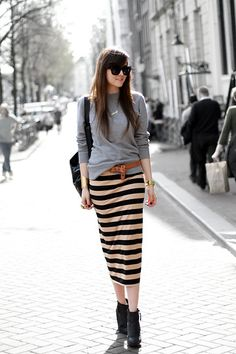 Casual Fall weekend sweater, fashion, cloth, street style, long skirts, outfit, pencil skirts, stripe skirt, stripes