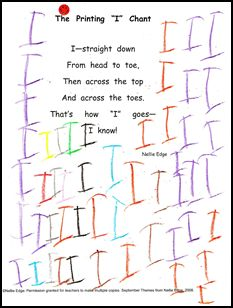 "DOWNLOAD ""I"" CHANT under the FREE POETRY tab/September at Nellie Edge.com. Find over 200 free songs, poems, chants, and rhymes for ""I Can Read"" notebooks. From Kindergarten- Friendly Handwriting."