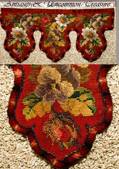 Antique Victorian Beadwork Needlepoint Pelmet, Fragment - Found on Ruby Lane