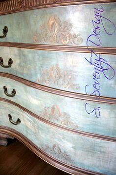 Close-up of a gorgeous Georgian mahogany serpentine chest finished with a blend of Provence, Paris Grey, Versailles, Old White & Paloma Chalk Paint® decorative paint by Annie Sloan, Clear & Dark Soft Waxes and touches of silver, gold & bronze leafing | By S. Seventy7 Design https://www.facebook.com/S.Seventy7Design