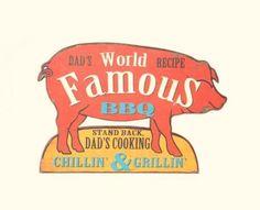 New Primitive Country Retro Diner Advertising DAD'S GRILLIN' PIG BBQ SIGN Plaque #Retro