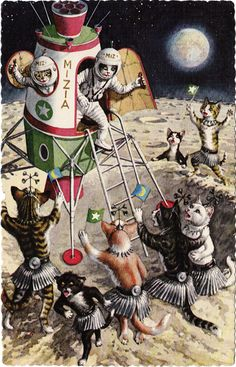 cat art, cats, postcards, planet, alfr mainzer, moon, space cat, mainzer cat, kitty