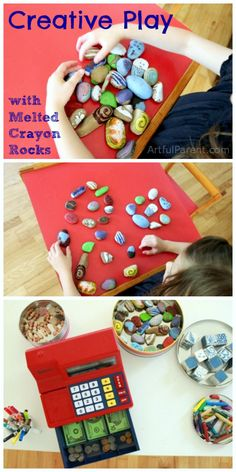Creative Play Activities with Melted Crayon Rocks