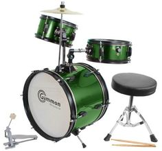 """Green Drum Set Complete Junior Kid's Children's Size with Cymbal Stool Sticks - Everything You Need to Start Playing by Gammon Percussion. $99.95. This amazing brand new junior Metallic Green drum set comes with everything you need to start playing included -   16"""" Bass Drum,  10"""" Hanging Tom with,  10"""" Snare Tom, Bass Drum Pedal ,  1Mounted Cymbal,  Drummer's Throne (stool), Pair of Sticks & Drum Key.  Some assembly is required and instructions are included.  T..."""