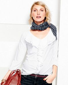 Polka dots are so fun because you can wear the pattern on its own or you can mix it up with other polka dots of different sizes and colors. I love styling a lightweight scarf as a necklace — tied so that it hangs long. It's a standout accent to any outfit (and essential for unpredictable weather!) - Anne Keane, Lucky Magazine