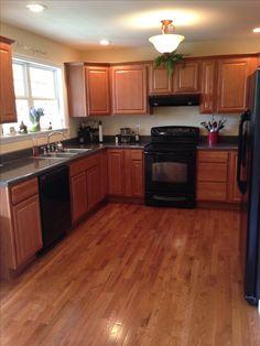 Kitchen w black appliances