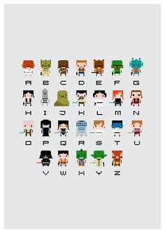 Star Wars Alphabet Art Print by PixelPower. Cute and also cool as a cross stitch pattern.