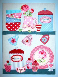kitchen shelves, felt dolls, applique quilts, tea towels, quilt patterns