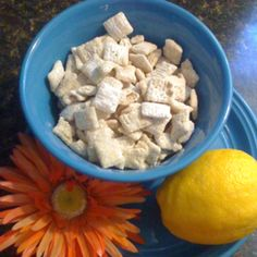 Chex Lemon Buddies, this stuff is addictive! 9 cups chex cereal, 1 1/4 cups white baking chips, 1/4 cup butter, 4 tps lemon peel, 2 Tbs fresh lemon juice, 2 cups powdered sugar!