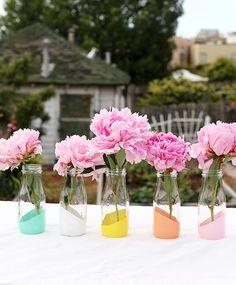 DIY pastel dipped milk glasses