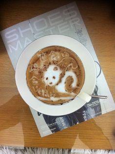 Panda coffee art