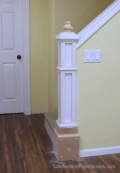 How to Build a Newel Post.. wonder how I could modify this since my post goes all the way to the ceiling.